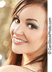 Beautiful Happy Smiling Brunette Woman