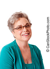 Portrait of beautiful happy smiling senior woman face with gray hair and wearing glasses, isolated.