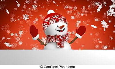 Beautiful Happy Snowman in Red Cap Greeting with Hand and...