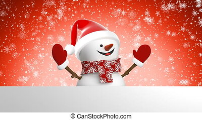 Beautiful Happy Snowman in Santa Hat Greeting with Hand and Smiling at Snowfall. 3d Cartoon Animation Green Screen Alpha Channel. Animated Greeting Card. New Year Concept. 4k Ultra HD 3840x2160