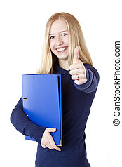Beautiful happy student with folder shows thumb up
