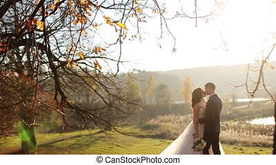 beautiful happy stylish bride with elegant groom on the background of beautiful trees in the autumn park shot in slow motion  close up