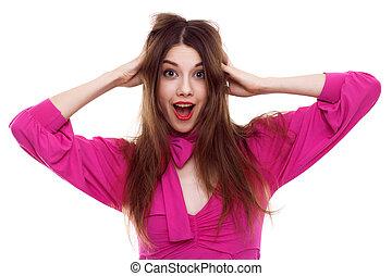 Beautiful happy woman in pink dress