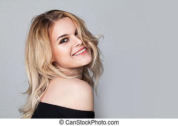 Beautiful happy woman smiling portrait
