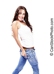 beautiful happy woman wearing jeans turning around on white background