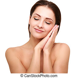 Beautiful happy woman with perfect clean skin and hands near the face
