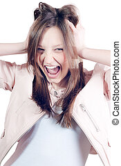 Beautiful happy young woman screaming excited