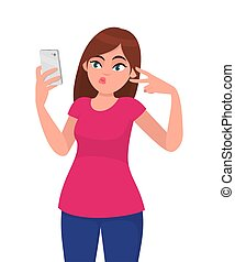 Beautiful happy young woman taking selfie and gesturing peace or victory sign. Modern lifestyle and communication, human emotions and body language concept illustration in vector cartoon flat style.