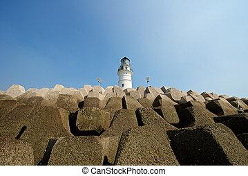 Beautiful harbor lighthouse in Qingdao