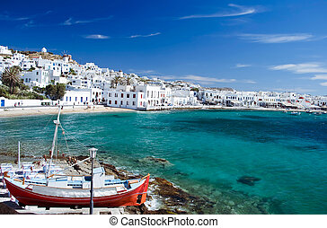 Mykonos Town - Beautiful Harbour of Mykonos Town, Greece