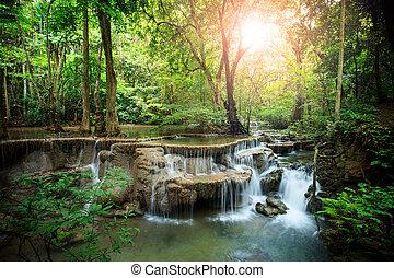 beautiful hauy mae kamin water falls in deep forest kanchanaburi western of thailand
