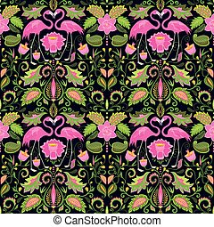 Beautiful Hawaiian seamless wallpaper with exotic flowers, tropical leaves and pink flamingo for wedding design, fabric, textile and wrapping paper