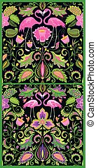 Beautiful Hawaiian seamless wallpapers variation with exotic flowers, tropical leaves and pink flamingo for carpet, fabric, textile, wrapping paper and other design