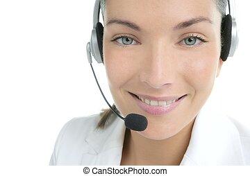 Beautiful headset businesswoman portrait in white