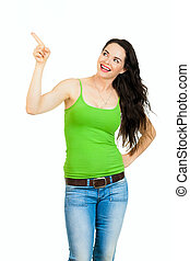 Beautiful healthy woman pointing