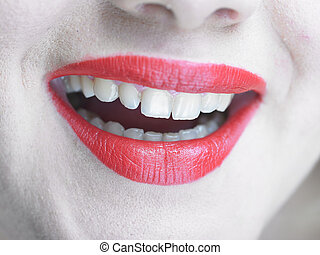 Beautiful Healty Smiling Lips with glamorous makeup, Smile