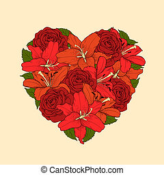 Beautiful heart decorated by flowers, roses and lilies....