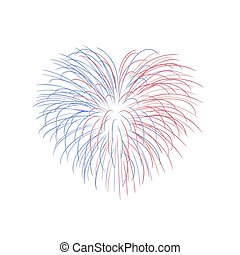 Beautiful heart-firework. Bright romantic salute, isolated on white background. Love decoration flat firework for Valentine Day celebration. Symbol of holiday, wedding. Vector illustration