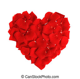 Beautiful heart of red rose petals isolated on white background