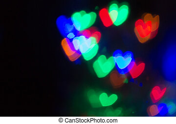 Beautiful Heart Shaped Bokeh on black background