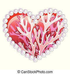 Beautiful heart with ornament of sea inhabitants corals and...