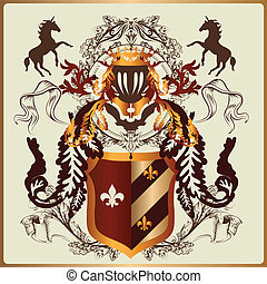 Beautiful heraldic design with armo