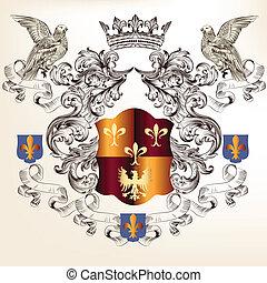 Beautiful heraldic design with shie