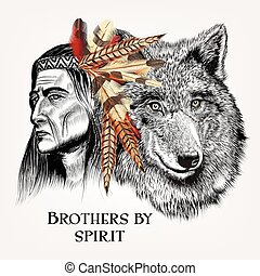 Beautiful high detailed hand draw wolf with Indian in...