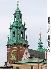 Beautiful high tower of catholic church in Krakow, Poland