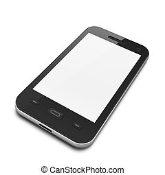 Beautiful highly-datailed black smartphone on white...