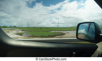 Beautiful highway landscapes - A shot of green landscapes...