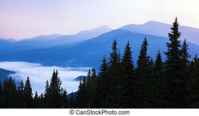 Beautiful hills at sunrise in the Carpathian mountains.