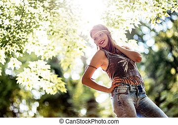 Beautiful hippie in nature