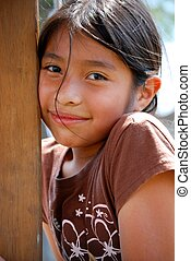 Beautiful Hispanic girl looking at the camera