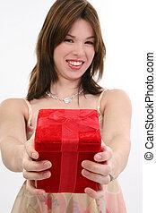 Beautiful Hispanic Girl with Gift