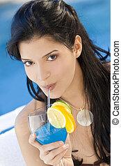 Beautiful Hispanic Latina Woman Drinking A Cocktail