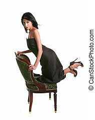 Beautiful Hispanic Model Posing on a Chair