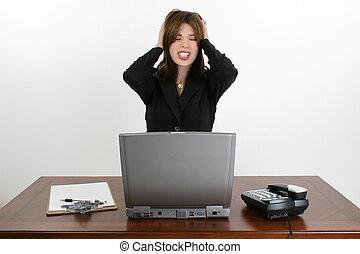 Beautiful Hispanic Woman at Desk