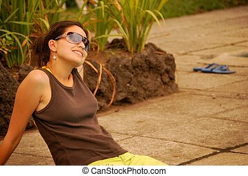 Beautiful Hispanic woman relaxing
