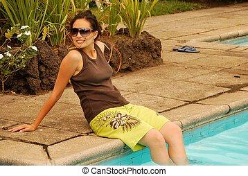 Beautiful Hispanic woman relaxing