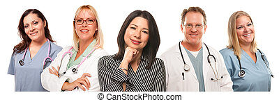 Beautiful Hispanic Woman with Male and Female Doctors or Nurses Isolated on a White Background.