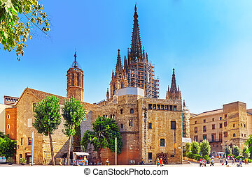 Beautiful historical landscape of the Barcelona, Catalonia...