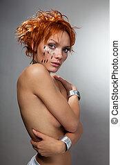 Beautiful hit-tech woman - Beautiful hit-tech beauty shoot...