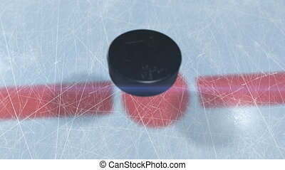 Beautiful Hockey Puck Drop in Face-off Zone. 3d animation of...