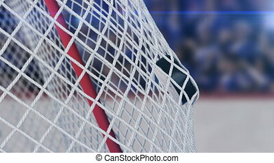 Beautiful Hockey Puck Flies into the Gates Grid in Slow Motion on Stadium Background. Ice-hockey 3d animation of the Goal Moment. Sport Concept. 4k Ultra HD