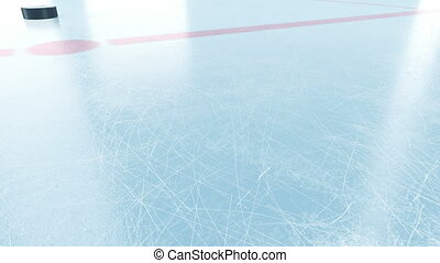 Beautiful Hockey Puck Sliding on Arena Ice in Slow Motion Close-up. 3d animation with and without DOF Blur and Lens Flares on Green Screen Alpha Matte. Active Sport Concept. 4k Ultra HD 3840x2160.