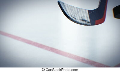 Beautiful Hockey Stick Throwing Hockey-puck in Slow-motion...