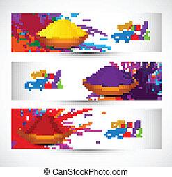 Beautiful holi festival celebration header set colorful background vector