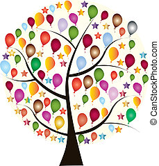 Beautiful holiday tree with colorful balloons and stars on a...