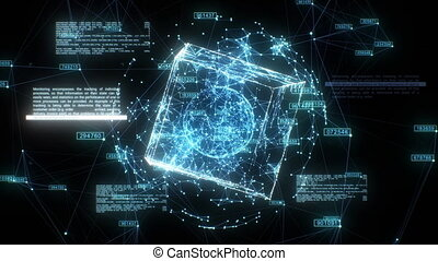 Beautiful Hologram of Digital Global Business Network Rotating in Cyberspace Seamless. Looped 3d Animation of Abstract Grid Spheres and Box with Text. Technology Concept. 4k Ultra HD 3840x2160.